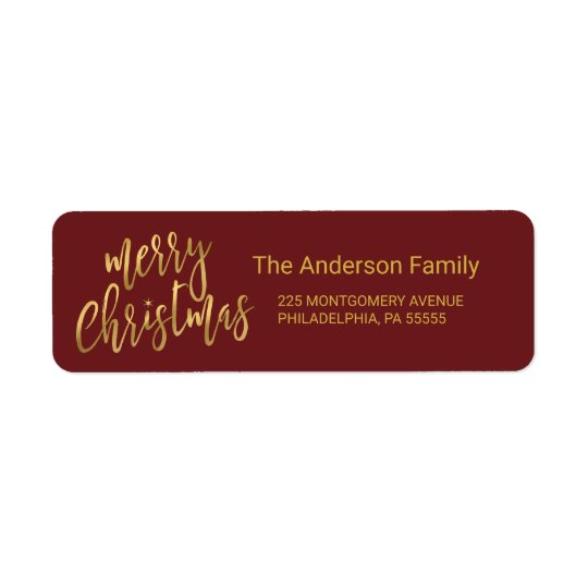Christmas Hand-Lettered Faux Gold Foil Typography Return Address Label