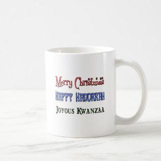 Christmas - Hanukkah - Kwanzaa Basic White Mug