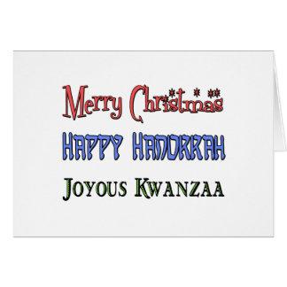 Christmas - Hanukkah - Kwanzaa Greeting Card