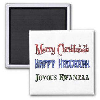 Christmas - Hanukkah - Kwanzaa Square Magnet