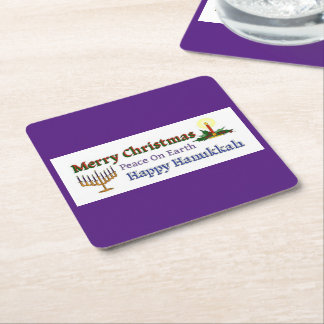 Christmas Hanukkah Square Paper Coaster