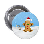 Christmas, Happy Gingerbread Man in Snow Pinback Button