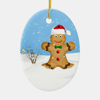 Christmas, Happy Gingerbread Man in Snow Ceramic Ornament