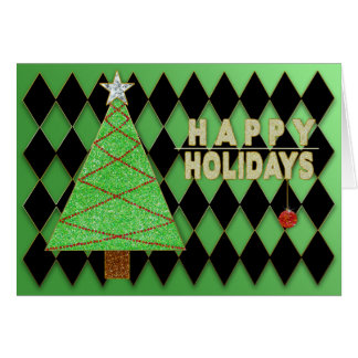 Christmas, Happy Holidays - Green Abstract Tree Card