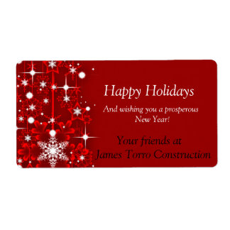 Christmas,Happy Holidays Wine Label Shipping Label