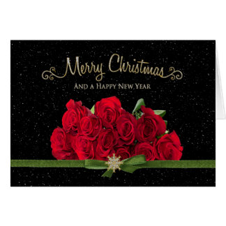 Christmas & Happy New Year - Red Roses - Snowing - Card