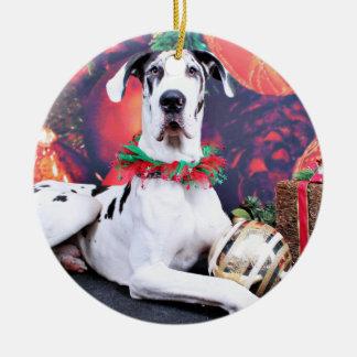 Christmas - Harlequin Great Dane - Baron Ceramic Ornament