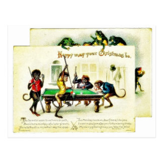 Christmas has monkeys playing golf, frog watching post card