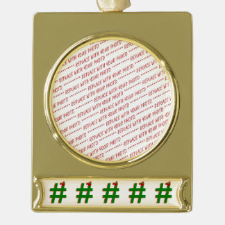#Christmas #HASHTAG - Hash Tag Symbol Gold Plated Banner Ornament