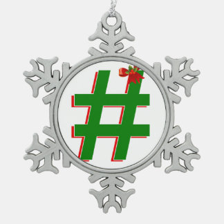 #Christmas #HASHTAG - Hash Tag Symbol Pewter Snowflake Decoration