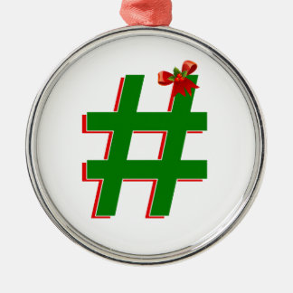 #Christmas #HASHTAG - Hash Tag Symbol Silver-Colored Round Decoration