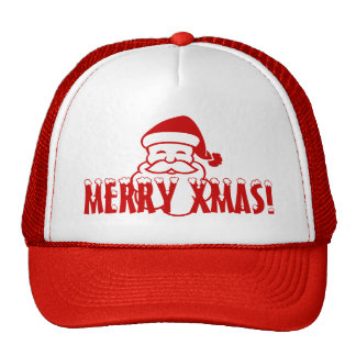 Christmas hat with Santa Clause saying Merry Xmas!