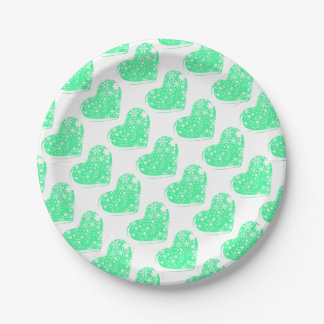 Christmas Heart Background Paper Plate