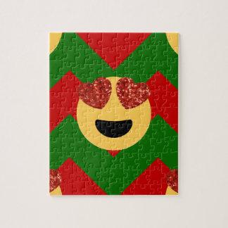 christmas heart eye emoji jigsaw puzzle