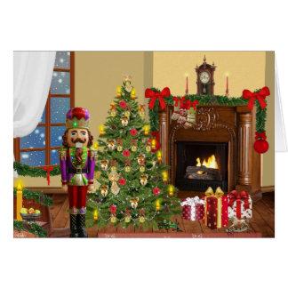 Christmas hearth scene with nutracker card