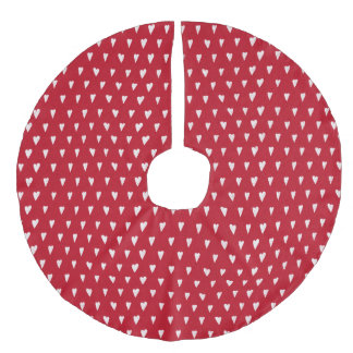 Christmas hearts red and white faux linen tree skirt
