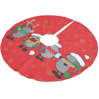 Christmas hedgehogs brushed polyester tree skirt