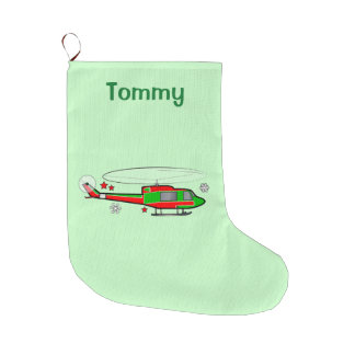 Christmas Helicopter in the Snow Large Christmas Stocking