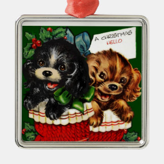 Christmas Hello Puppies Silver-Colored Square Decoration