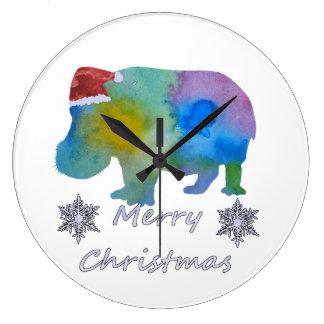 Christmas Hippo Large Clock