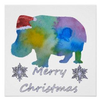 Christmas Hippo Poster