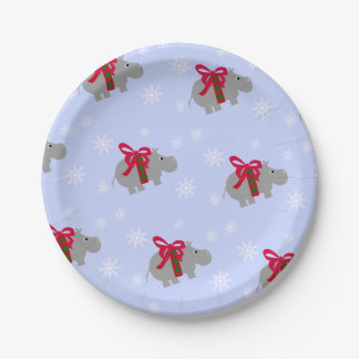 Christmas Hippopotamus Paper Holiday Party Plates