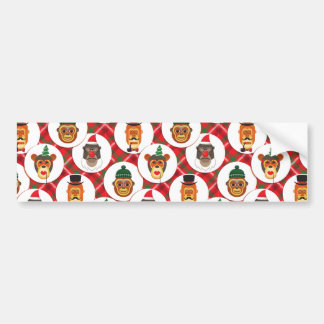 christmas hipster monkeys bumper sticker