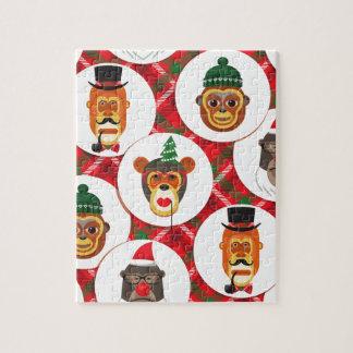 christmas hipster monkeys jigsaw puzzle