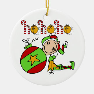 Christmas Ho Ho Holiday Cute Elf Round Ceramic Decoration