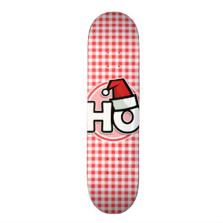 Christmas HO; Red and White Gingham Skateboard Deck