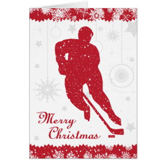 Christmas Hockey Red Snowflakes Male Card