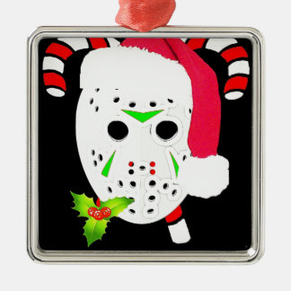 Christmas hockey team Silver-Colored square decoration