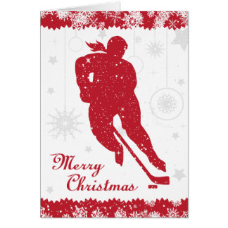 Christmas Hockey Women's Red Snowflakes Female Card