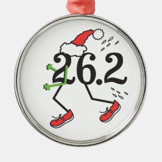Christmas Holiday 26.2 Funny Marathon 26 2 Runner Metal Ornament