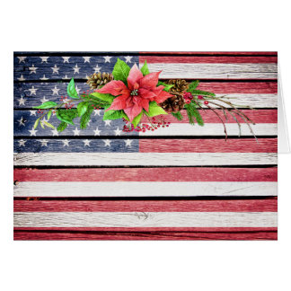 Christmas / Holiday American Wood Image Flag 1 Note Card