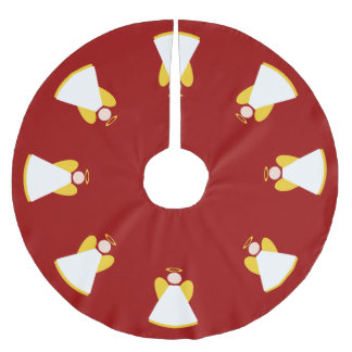 Christmas Holiday Angels Red Gold White Xmas Brushed Polyester Tree Skirt
