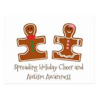 Christmas Holiday Autism Awareness Puzzle Cookies Postcard