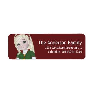 Christmas Holiday Blonde Elf - Christmas Return Address Label