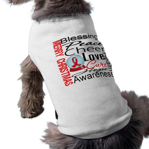 Christmas Holiday Blood Cancer Collage Dog Tee Shirt