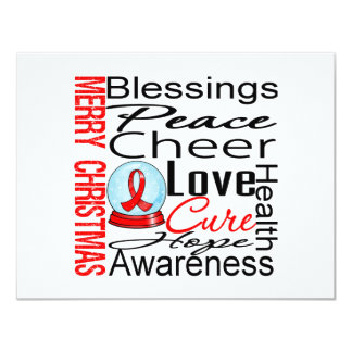 "Christmas Holiday Blood Cancer Collage 4.25"" X 5.5"" Invitation Card"