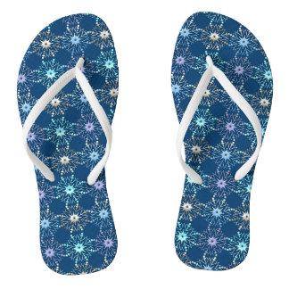 christmas holiday blue pattern thongs