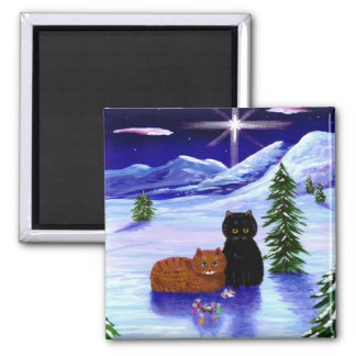 Christmas Holiday Cat Mouse Christian Magnet