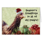 Christmas Holiday Chicken in Santa Hat Card