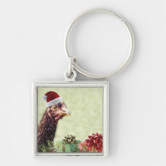 Christmas Holiday Chicken in Santa Hat Key Chains