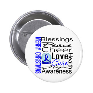 Christmas Holiday Colon Cancer Collage Pinback Button