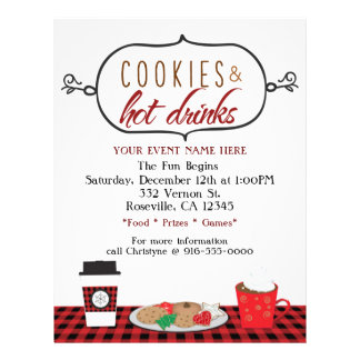 Christmas Holiday Cookies & Hot Drinks Event Flyer