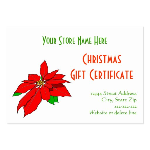 Christmas Poinsettia pnany Gift Certificate