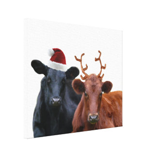 Christmas Holiday Cows in Santa Hat and Antlers Gallery Wrapped Canvas