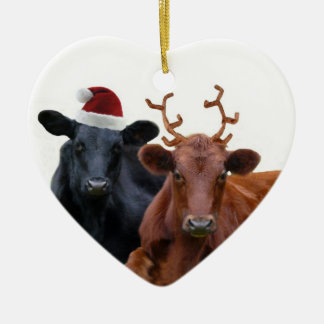 Christmas Holiday Cows in Santa Hat and Antlers Ceramic Ornament