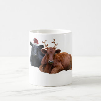 Christmas Holiday Cows in Santa Hat and Antlers Morphing Mug